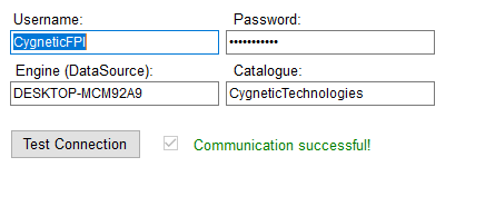 Database correct credentials